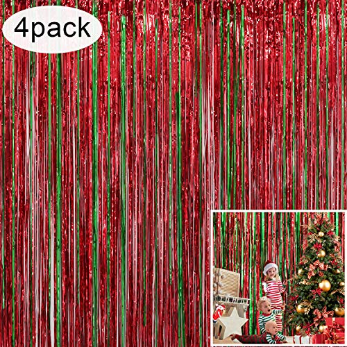 Holiday Party Decorations (4 Pack Christmas Decoration Backdrop - 3 ft x 8 ft Foil Fringe Curtains Tinsel Curtain Party Photo Backdrop for Birthday Xmas Holiday Party)
