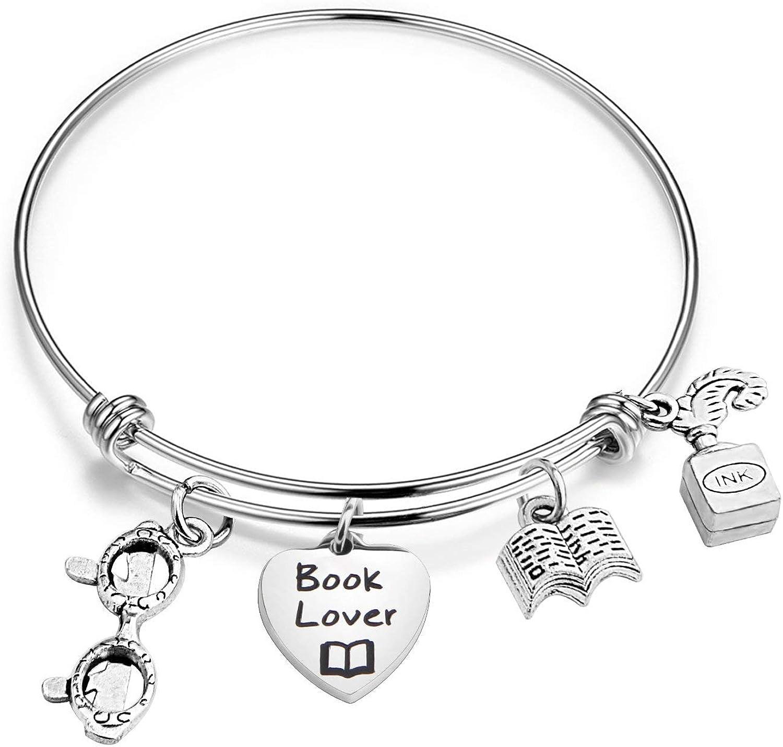 Pulsera para amantes de los libros, regalo literario, pulsera de gusano de libros inspiradora