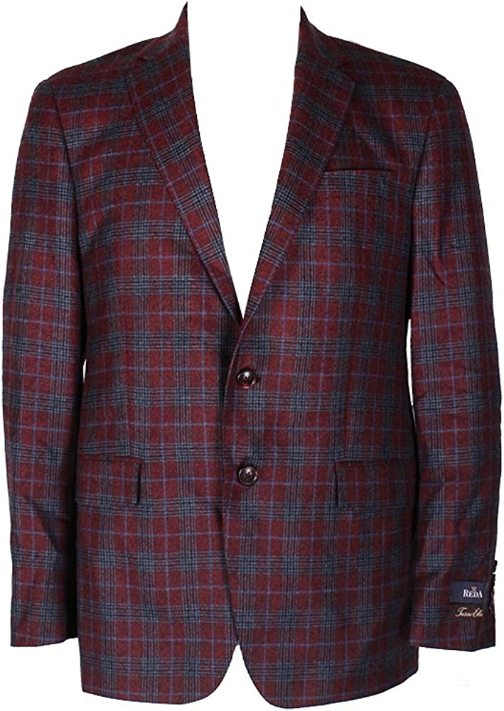 TassoElba Red Black Plaid Double Button Notched Collar Sport Coat R