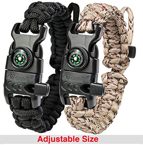 A2S Protection Paracord Bracelet K2-Peak – Survival Gear Kit with Embedded Compass, Fire Starter, Emergency Knife & Whistle (Black / Sand Camo Adjustable Size