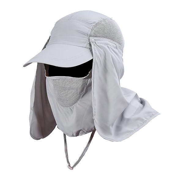 VGEBY Gorra de Protección Solar Anti-UV con Máscara Extraíble Sombrero Tapa  de Cuello y Face Flap para Ciclismo 3573de5200c
