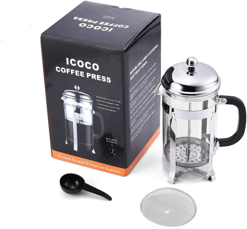 32oz Insulated Coffee Press Double Screen Filtration System For Home Office-Bronze Kitchen Silver Stainless Steel Strainer French Press Coffee Maker