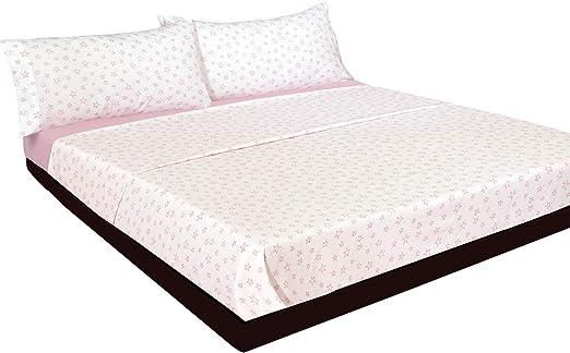 Montse Interiors Juego de sábanas Estrellas Rosas Algodón 100% (A-Paris Rosa, para Cama de 105x190/200): Amazon.es ...