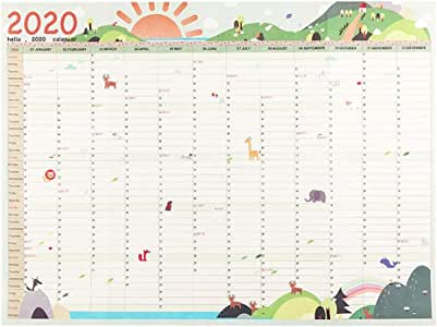 2020 365 días del Calendario Pared de Papel Oficina de la Escuela Notas Diarias planificador Gran Estudio de Año Nuevo Plan de Programación 43 * 58cm (Color : Green): Amazon.es: Electrónica