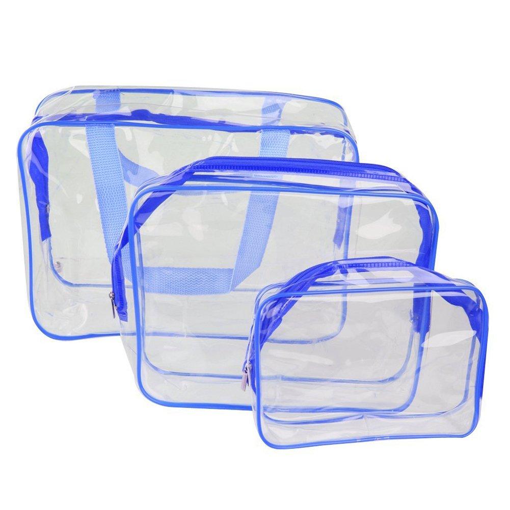 Chytaii 3X Kit de Trousses de Toilette Sac Pochette de Rangement Organisateur Cosmétique Maquillage Imperméable Transparent PVC Rose