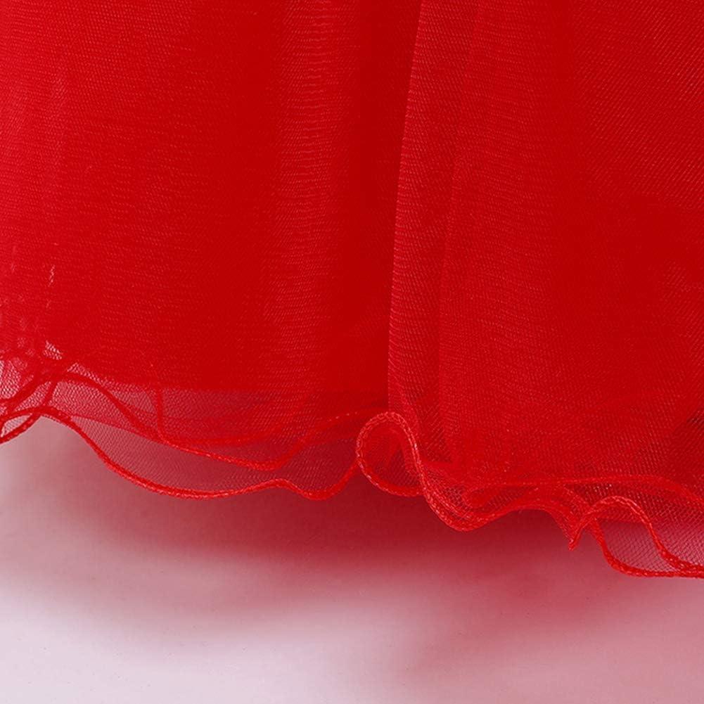 IMEKIS Abito da Ragazza Festa Principessa Pizzo Bowknot tut/ù Fiore Applique Ricamato Tulle Gonna Elegante Damigella dOnore Matrimonio Compleanno Cocktail Lungo Abito da Ballo Formale