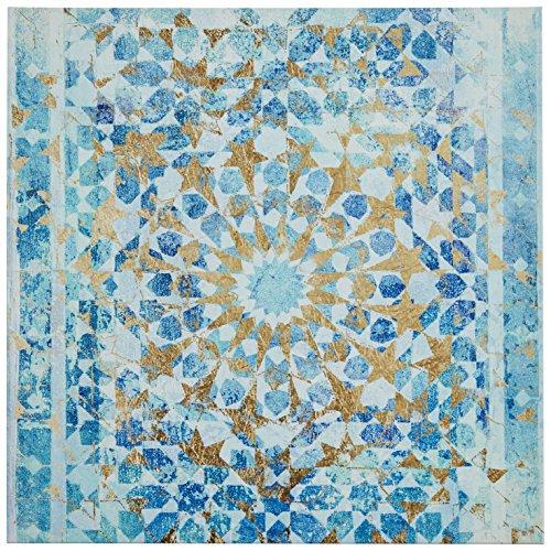 Rivet Turquoise Blue Mandala Canvas Print, 24'' x 24'' by Rivet