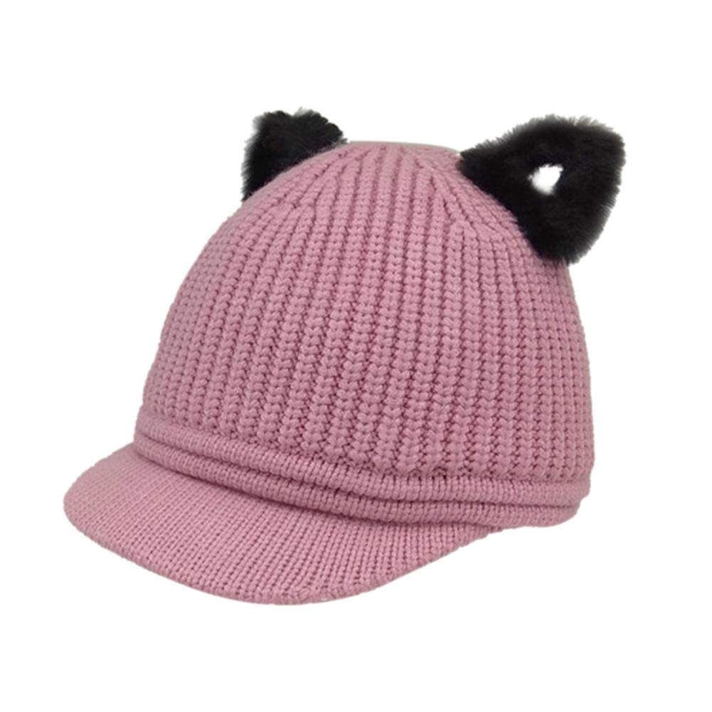 0863fd1c846 Amazon.com  Fashion Kids Girls Winter Warm Cat Ear Peaked Casual Cap  Knitted Hats (Grey)  Clothing