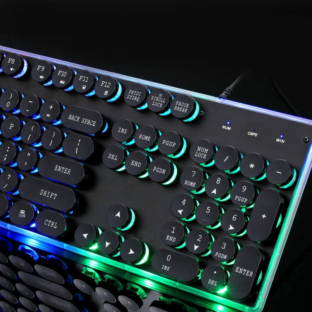 Punk Keyboard Game Backlit Keyboard Floating Light Game Waterproof Keyboard Full Key No Conflict Suitable Black