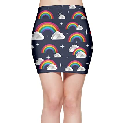 e932398f6f84 CAWHJDW Women's Rainbow and Clouds High Waisted Bodycon Mini Skirt Casual  Mini Party Skirt Stretchy Short