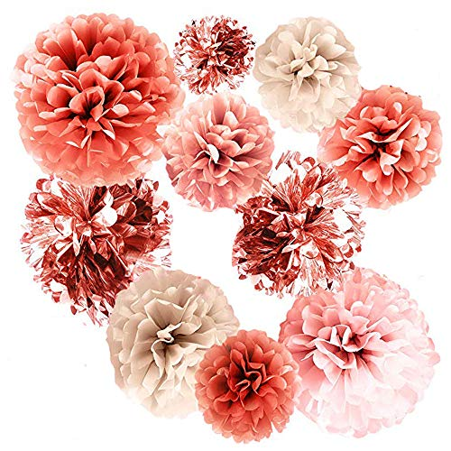 20 PCS Rose Blush Pink Tissue Pom Poms Metal Rose Gold Foil Party Paper Confetti Flower for Wedding Bridal Shower Baby Shower Birthday Party Decorations -