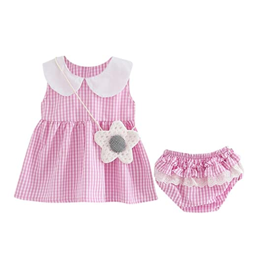 ce4fd0c73b71 Amazon.com  Willsa Baby Girls Plaid Ruffled Vest Dress+Lace Shorts ...