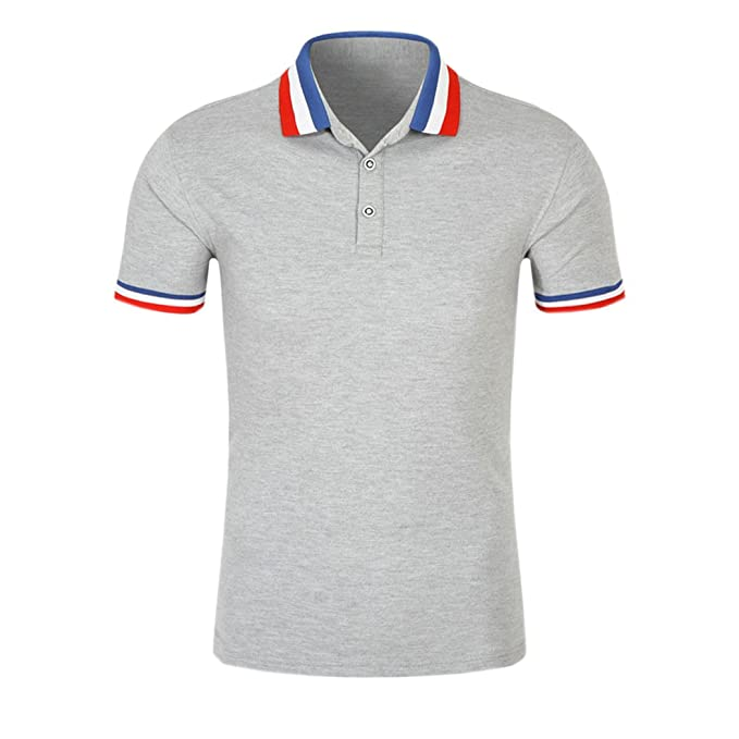 Vintage Shirts – Mens – Retro Shirts SanVera17 Men Casual Classic Retro Tri-Color Collar Solid Color Polo Shirts Cotton Short Sleeve T-Shirt $15.99 AT vintagedancer.com