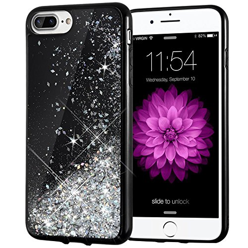 iPhone 7 Plus Case, Caka [Starry Night Series] Bling Flowing Floating Luxury Liquid Sparkle TPU Bumper Glitter Case for iPhone 6 Plus/6S Plus/7 Plus/8 Plus (5.5 inch) - (Silver) (Silver Stars Design Case)