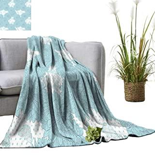 YOYI Bed Blanket Grungy Watercolors W TER Frozen Snow Spiky Curved Petals Image Blu Comfortable Home Decor 50'x60'