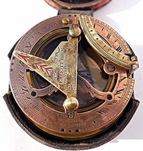 MAH Maritime Antiques Nautical Reproduction Brass Box Sundial Compass -Drum Sundial Stamp Leather Box. C-3020 by MAH