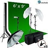 LimoStudio 6 x9 ft White / Black / Green Chromakey Fabricated Backdrop Muslin Background Screen Umbrella Lighting Kit for Photo Video Photography Studio, AGG1861