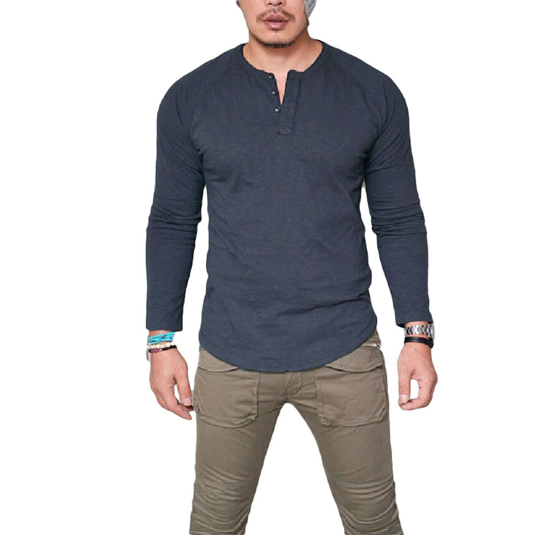 698c7486 A Good Amount of Stretch, Breathable, Skin-touch, Comfortable to Wear Solid  Color, Long Sleeve, V Neck with 3 Buttons, Slim Fit Casual Henley Shirt