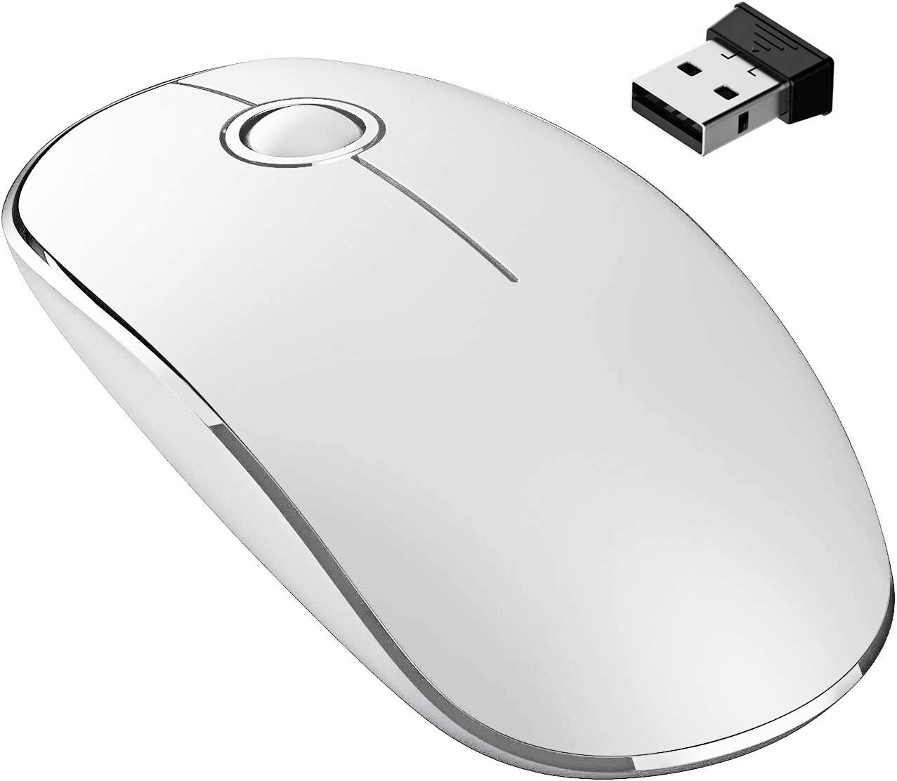 VicTsing 2.4G Slim Wireless Mouse with Nano Receiver, Noiseless and Silent Click with 1600 DPI for PC, Laptop, Tablet, Computer, and Mac, White and Silver (Renewed)
