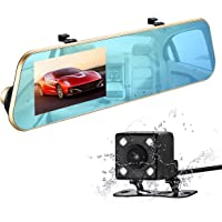 isYoung Retrocamera per Auto, Full HD 1080P Dash Cam Doppio Obiettivo Anteriore e Posteriore Telecamera Da Cruscotto Specchio Retrovisore Parcheggio 170 Gradi Video DVR