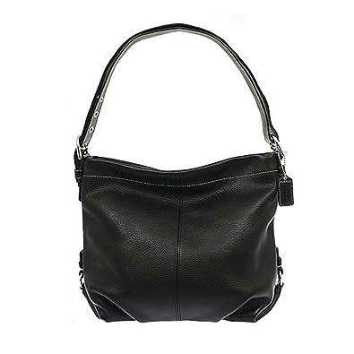Authentic Coach Black Pebbled Leather Duffle Shoulder Bag 15064 ...