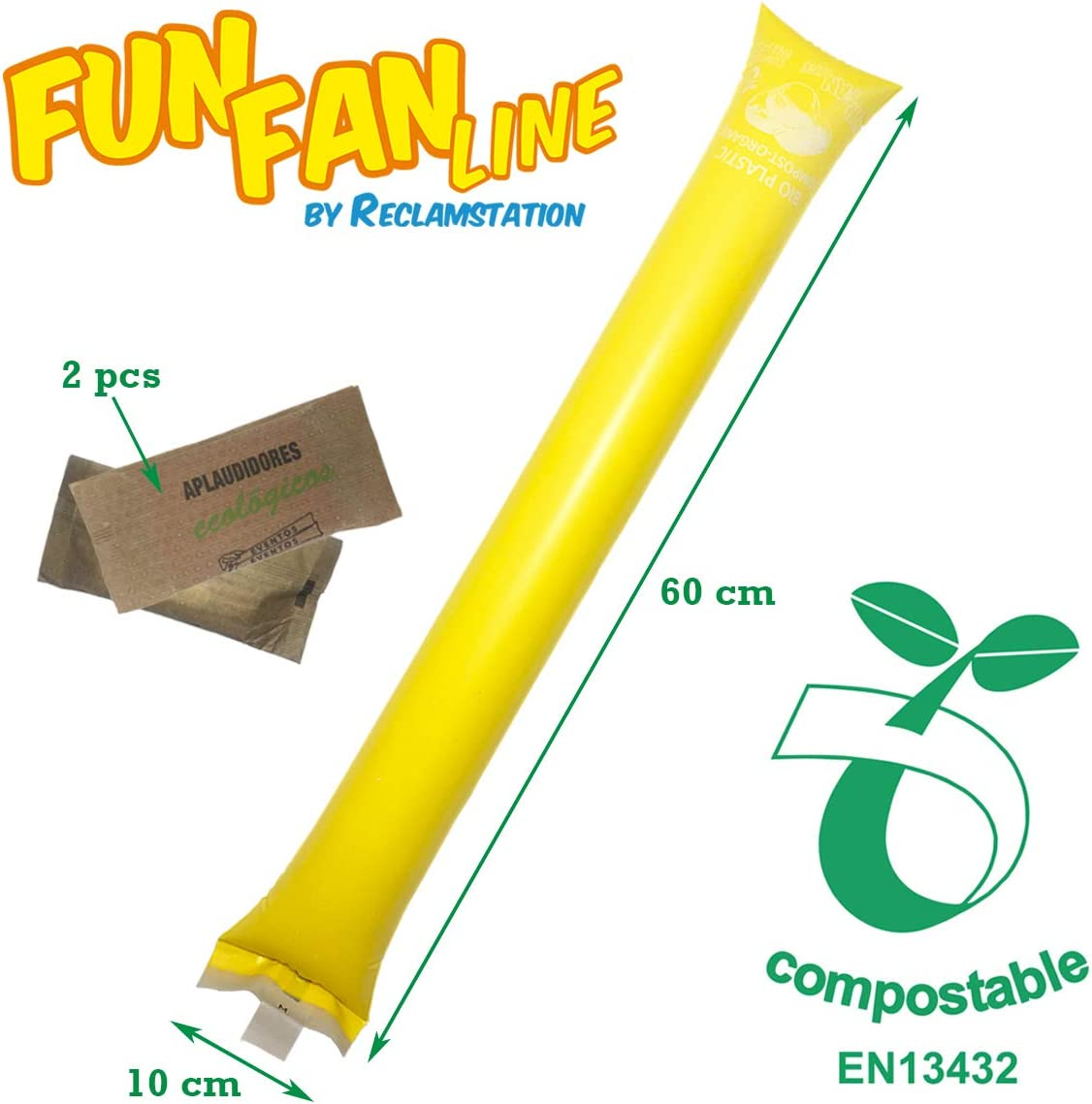 20 pairs of 100/% ecological compostable bam bam clappers Blue For birthdays ☘ Organic and environmentally friendly bioplastic parties and sporting events FUN FAN LINE