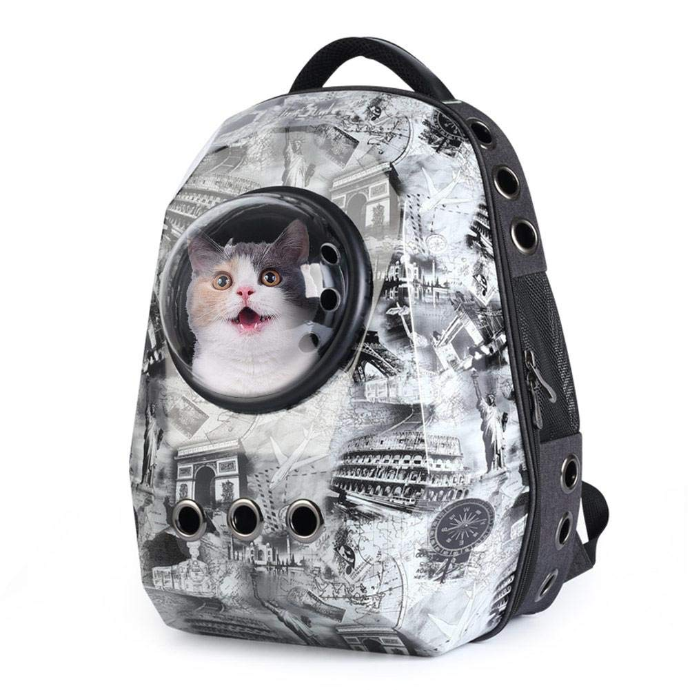Paris Tower BTLIFE Pet Space Capsule Carrier Backpack,Travel Handbag Space Capsule Design for Cats Dogs &Small Animals, Hiking, Walking & Outdo