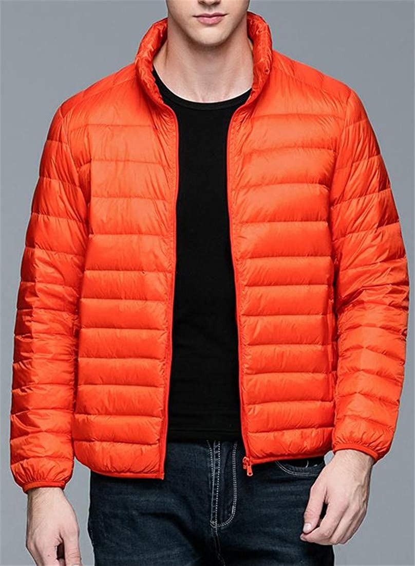 Hajotrawa Mens Packable Puffer Stand Collar Light Weight Plus Size Down Jacket Coat