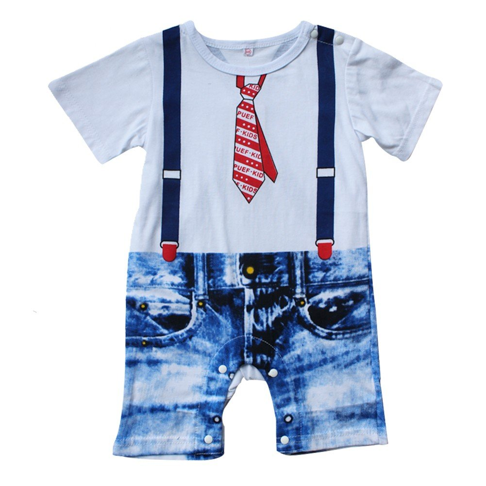 YiZYiF Baby Boys Kids Outfits Romper Suit Bowtie Gentlemen Party Clothes