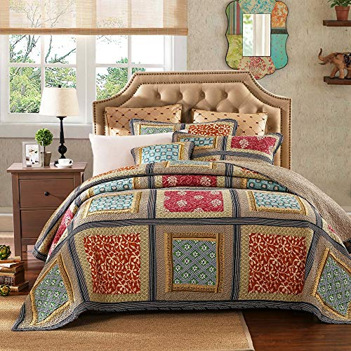 YAYIDAY Patchwork Cotton Bedspread Quilt Sets King Size Bohemian Pattern – Breathable Summer Comforter Reversible Floral Quilted with Pillow Shams, Modern Stitched Coverlet,(Khaki King)