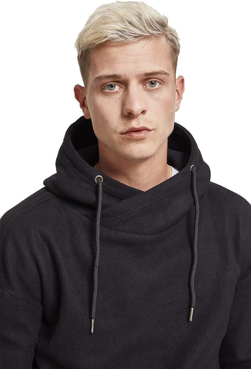 Urban Classics Herren Polar Fleece High Neck Hoodie Kapuzenpullover Schwarz (Black 00007)