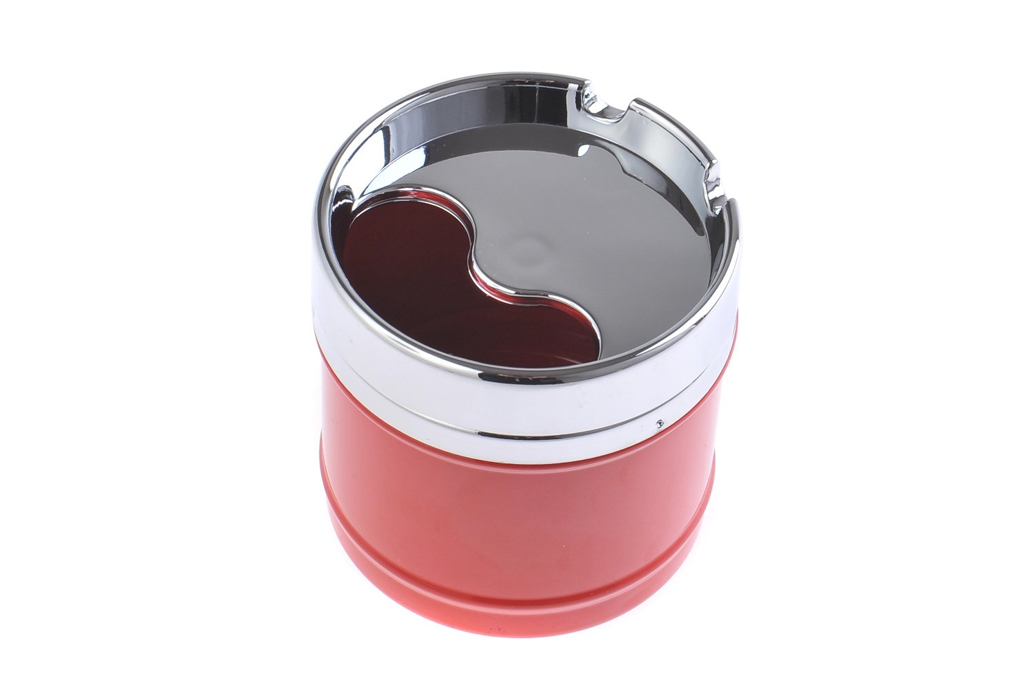The Khan Outdoor & Lifestyle Company Elegant Zinc Alloy Round Covered Ashtray Cup, American Diner Style, red, Mod. 817-01 (DE)