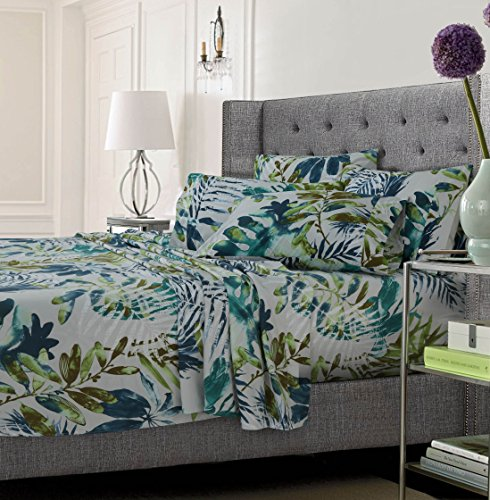 Tribeca Living Trrfmfsheettw Tropical Rainforest Deep Pocket 4-Piece Sheet Set, Twin, Trop Rainforest Multi (Forest Rain Ginger)
