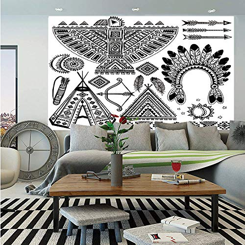(Tribal Huge Photo Wall Mural,Native American Feather Head Band Ethnic Teepee Tent Bow and Arrow Art Print,Self-Adhesive Large Wallpaper for Home Decor 100x144 inches,Black and White )