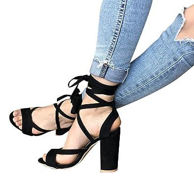 83f5343dfdd7 Juleya Damen Riemchen Sandaletten Absatz Sandalen 10cm High Heels Schuhe  Frauen Offener Sandalen Blocksatz Schuhe Sommerschuhe
