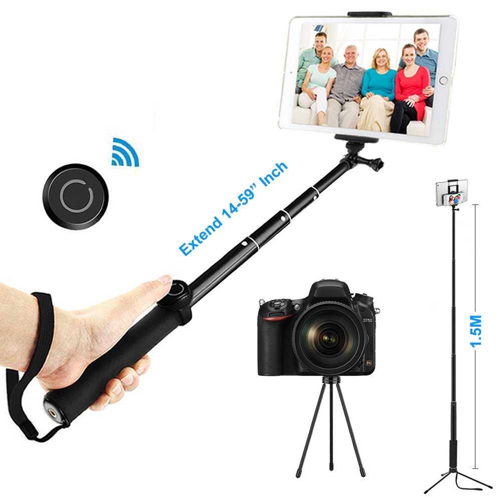 ohCome Selfie Stick with Bluetooth Remote, 14-59'' Handheld Aluminium Monopod with Tripod Stand and 2-in-1 Clip Holder Mount for 3.5-10'' iPads, Tablets, iPhone, Android Phones, and Gopro Cameras