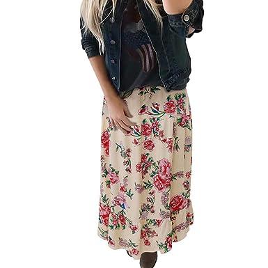 Rawdah_Faldas Mujer Largas Elegantes Faldas Mujer Cortas Verano Fiesta Originales Mujer Moda Señora Alta Cintura Bohemia Vintage Suelta Playa Abrigo Maxi ...