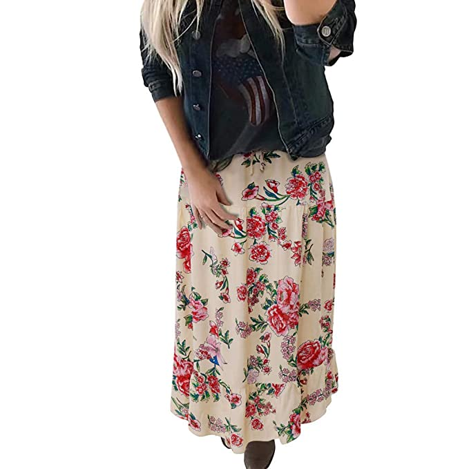 Rawdah Faldas Mujer Largas Elegantes Faldas Mujer Cortas Verano Fiesta  Originales Mujer Moda Señora Alta Cintura Bohemia Vintage Suelta Playa  Abrigo Maxi ... 0773024f8d18