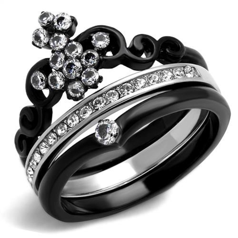 Women's Round Cut CZ Black Stainless Steel Crown Wedding Ring Set Size 5-10 (7)
