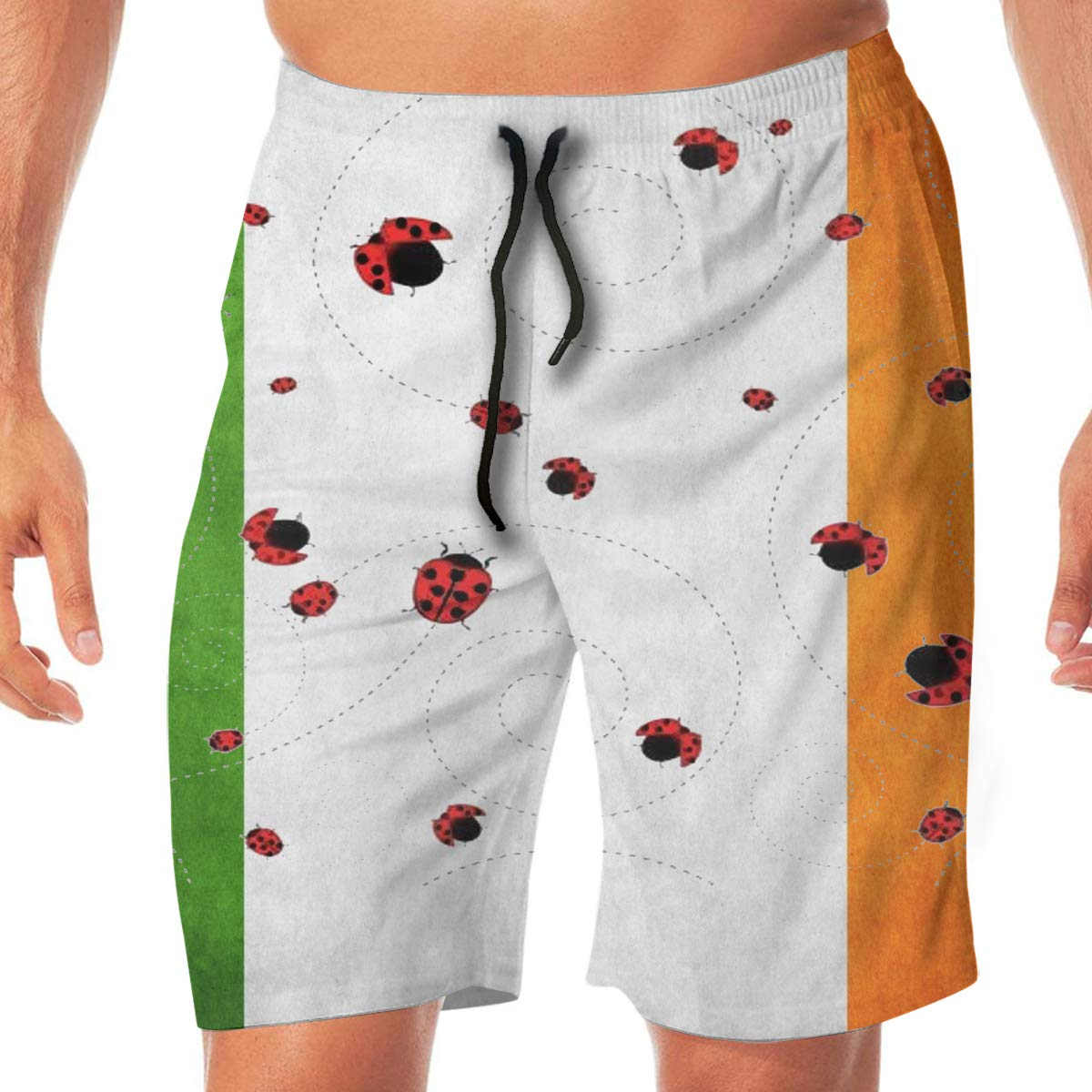 SEXTDSFD Ladybug Mens Running Casual Short Beach Pants Swim Trunks Drawstring Board Shorts Swimwear