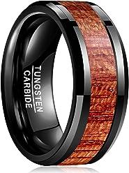Vakki Ring Wolframcarbid 8 mm matt hawaiianisches Koa-Holz Inlay Flache Kanten Bequeme Passform