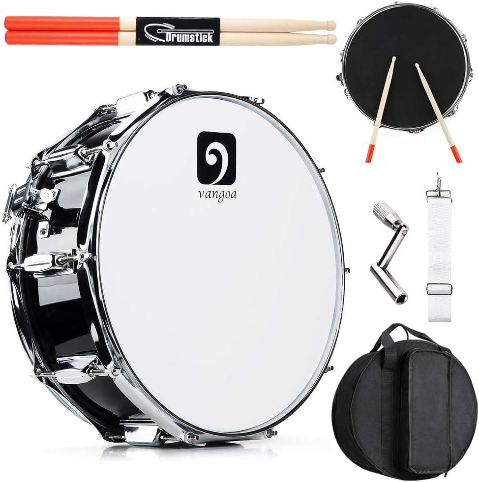 Vangoa Tambor de 14 Pulgadas, Cavidad de Madera de Arce, 10 Clavijas de Afinación, Profesional Snare Drum con Kits ...