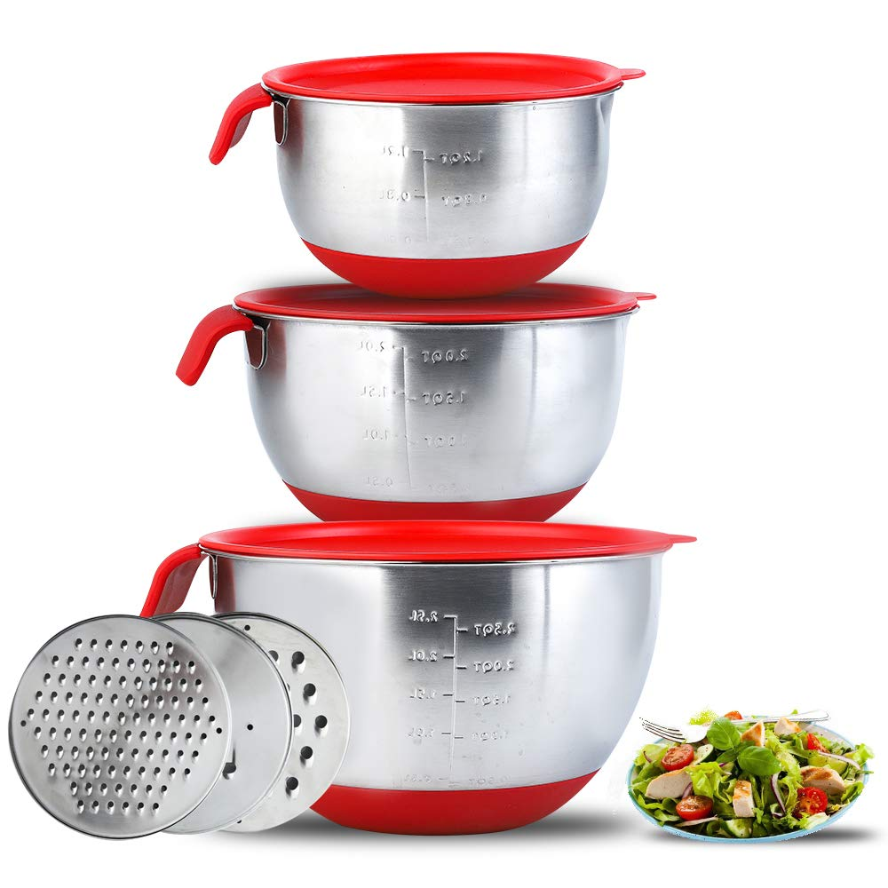 Stainless Steel Mixing Bowls with Airtight Lids, Non-Slip Serving Bowl Set of 3 for For Kitchen Cooking Baking Food Storage with 3 Grater by Quanwei