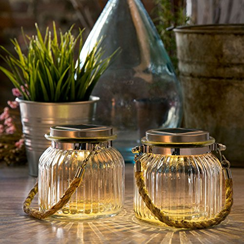 LampLust 2 Glass Solar Lighted Jars with Warm White LEDs, Nautical Rope Handles, Rechargeable Battery Included