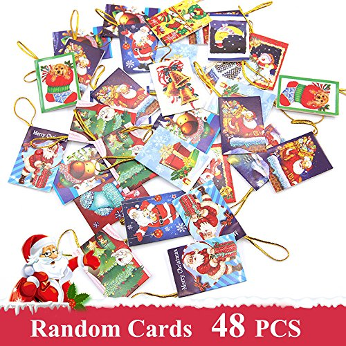 48 Pcs Assorted Christmas Greeting Cards, Festive Classic Character Designs - Snowman, Santa Claus & Christmas Trees and (Stage 48 Halloween)