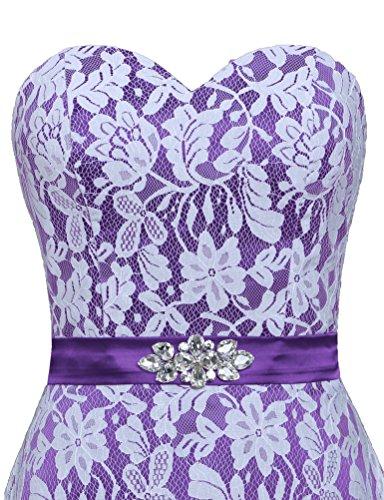 Robes De Cocktail En Dentelle Blanche De Fourmis Femmes Robe Courte Partie Violet