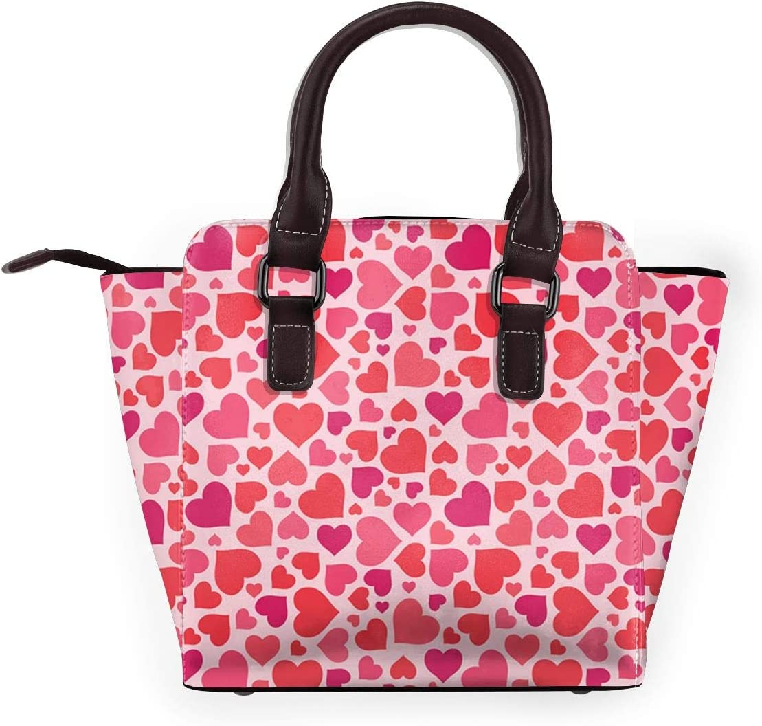 GHUJAOOHIJIO Ideal Mothers Gift-Hearts Pattern Womens Rivet PU Leather Tote Bag Shoulder Bag Purse
