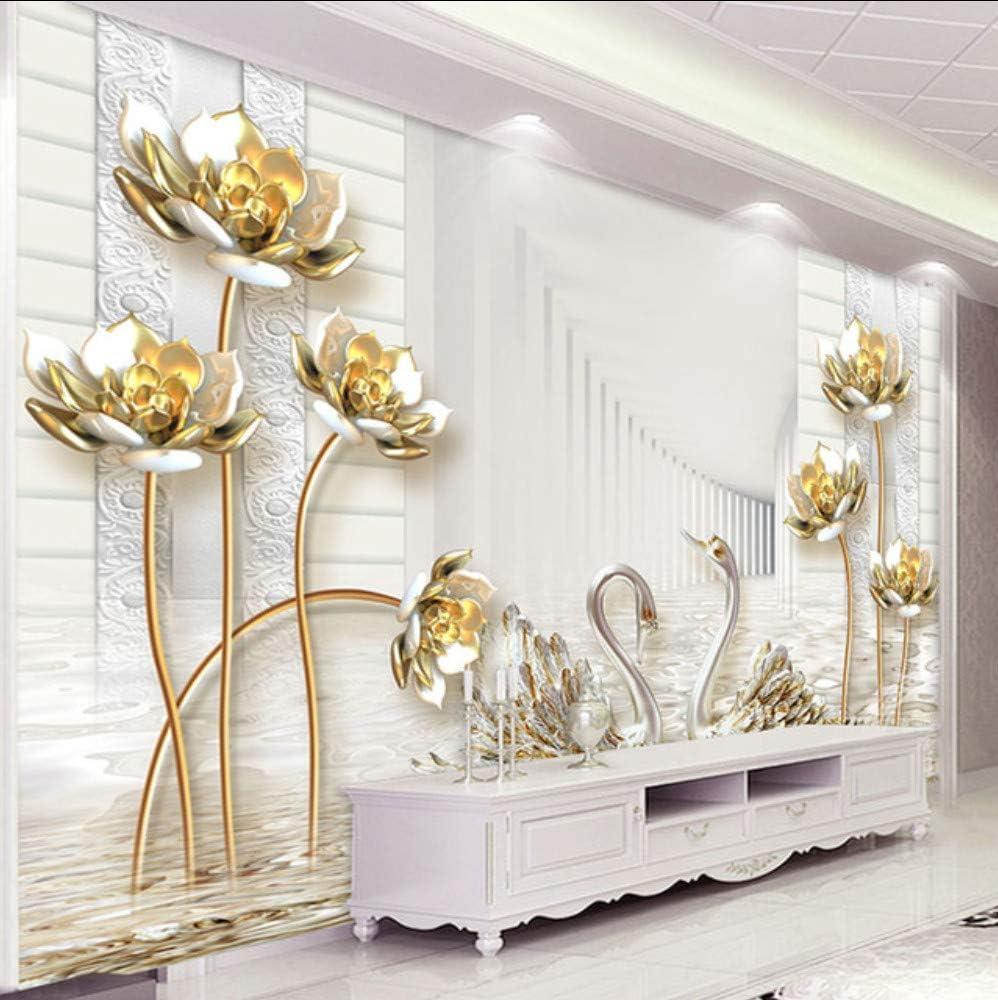 Ponana Custom Any Size Mural Wallpaper Estilo Europeo Estéreo 3D Golden Lotus Swan Photo Wall Painting Living Room Decoración De Lujo Mural 3D-350X250Cm