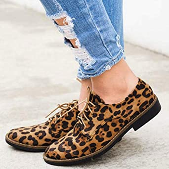 Amazon.com: Hurrybuy Womens Leopard Faux Suede Shoes Round Toe Lace-Up Flats Shoes: Clothing