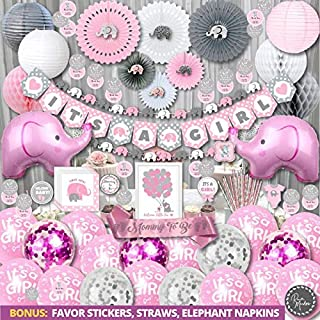 Jumbo Premium Elephant Baby Shower Decorations for Girl Kit | It's A Girl | Banner, Napkins, Straws, Paper Lanterns, Honeycomb Balls, Fans, Cake Toppers, Sash, Balloons, Games | Pink Grey White